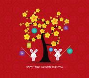 Mid autumn festival rabbit playing with lanterns. Happy greeting card Stock Photography