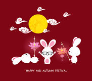 Mid autumn festival rabbit playing with lotus lanterns with chinese Royalty Free Stock Image