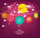 Mid Autumn Festival vector background with lantern and plum blossom Stock Photos
