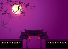 MId autumn full moon background illustration Royalty Free Stock Images