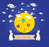 Mid Autumn Lantern Festival. Full moon and rabbit family Stock Images