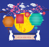 Mid Autumn Lantern Festival. Full moon and rabbit family Royalty Free Stock Image