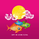 Mid Autumn Lantern Festival vector background with moon carp Royalty Free Stock Photo