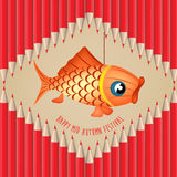 Mid Autumn Lantern Festival vector pencils background with carp Royalty Free Stock Photo