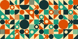 Mid Century Abstract Background. Abstract geometric mid century vector background. Retro space poster design royalty free illustration