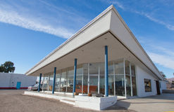 Mid-Century Modern Architecture. Mid twentieth century building in the middle of the desert in the town of Amboy, California Stock Photos