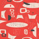 Mid century modern fabric background. Art vector 1950s 1960s hip surfboard surfing surf cool 50`s 60`s fun red orange shapes mod pattern vintage retro Stock Image