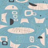 Mid century modern fabric background Blue. Mid century modern fabric background art  1950s 1960s hip surfboard surfing surf cool 50`s 60`s fun Blue Aqua shapes Stock Image