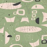 Mid century modern fabric background Green. Mid century modern fabric background art  1950s 1960s hip surfboard surfing surf cool 50`s 60`s fun green shapes mod Royalty Free Stock Photos