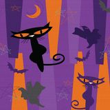 Mid Century Modern Halloween. Fabric Iconic Retro 60`s 50`s Party Announcement Hip Cool Cocktail Background Orange Purple stock illustration