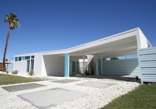 Mid-Century Modern Home. With butterfly roof in Palm Springs, California stock photos