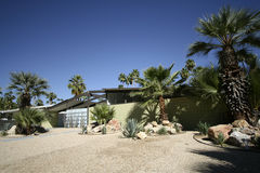 Mid-Century Modern Home. With palm tree garden  Palm Springs, California Royalty Free Stock Photo