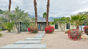 Mid-Century Modern Home. With palm tree garden  Palm Springs, California Stock Photo