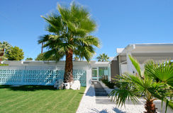 Mid-Century Modern Home. With palm tree garden Palm Springs, California stock images