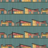 Mid Century Modern Houses with Green Background royalty free illustration