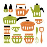 Mid Century Modern Kitchen Poster. Collection of cooking utensil. Vector clipart royalty free illustration
