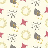 Mid century modern seamless pattern. 1950s vintage style atomic background, retro vector illustration stock illustration