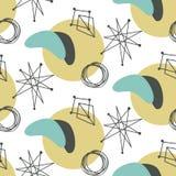 Mid century modern seamless pattern. 1950s vintage style atomic science background, retro vector illustration stock illustration