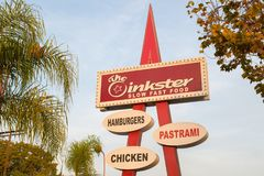 Mid-century modern vintage fast food sign in Los Angeles Stock Image