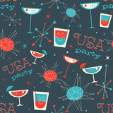 Mid Century USA patriotic Pattern. Retro vintage fifties styled vector pattern. Stock Photo