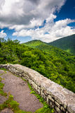 Mid-day view of the Appalachian Mountains from Craggy Pinnacle,. Near the Blue Ridge Parkway in North Carolina royalty free stock photography