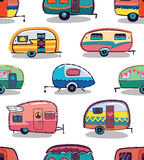 Mid fifties cartoonish campers pattern Royalty Free Stock Image