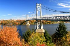 Mid Hudson Bridge. At fall looking across the Hudson River from Highland to Poughkeepsie - New York Stock Photography