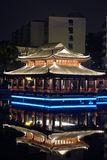 Mid-lake Pavilion-Ruzi Pavilion Park night. Kiosks in the city of Nanchang province Xihu District in Jiangxi, West Lake, named for the memorial of the Eastern Royalty Free Stock Photo