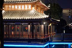 Mid-lake Pavilion-Ruzi Pavilion Park night. Kiosks in the city of Nanchang province Xihu District in Jiangxi, West Lake, named for the memorial of the Eastern Royalty Free Stock Image