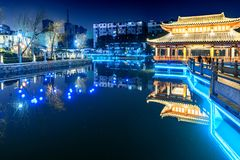 Mid-lake Pavilion-Ruzi Pavilion Park night. Kiosks in the city of Nanchang province Xihu District in Jiangxi, West Lake, named for the memorial of the Eastern Stock Image