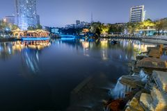 Mid-lake Pavilion-Ruzi Pavilion Park night. Kiosks in the city of Nanchang province Xihu District in Jiangxi, West Lake, named for the memorial of the Eastern Royalty Free Stock Photos