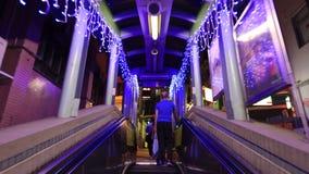 Mid Levels escalator stock video footage