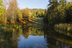 Mid-morning over lake. Fall mid-morning in mountain royalty free stock image