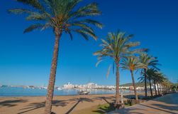 Mid morning sun on Ibiza waterfront.  Warm sunny day along the beach in St Antoni de Portmany Balearic Islands, Spain Royalty Free Stock Photo