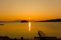 The mid-night sun in alaska Stock Image
