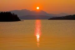 The mid-night sun in alaska Stock Photos