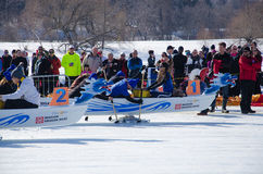 Mid Race. OTTAWA - FEB 18: Ice dragon boat racing held in North America for the first time in Ottawa, Canada on February 18, 2017 on Dow`s Lake Royalty Free Stock Photos