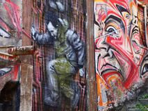 Thriving urban graffiti and street art scene in Lisbon, Portugal, 2014. Since the mid-2010s, Lisbon is experiencing a burgeoning urban art scene, of which the Royalty Free Stock Image