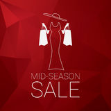 Mid season sale poster design with elegant lady and shopping bags. Low polygonal red background. Stock Photography