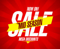 Mid season sale with ribbon and rays. Royalty Free Stock Photography