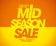 Mid season sale with ribbon and rays. Royalty Free Stock Photos