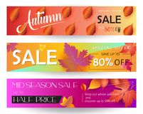 Autumn Sale. Mid season sale web banners set. Autumn Sale discount gift cards. Fall maple leaves abstract background. Save up to half price leaflet. Shop whole Stock Image