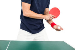 Mid section of athlete man playing table tennis Stock Image