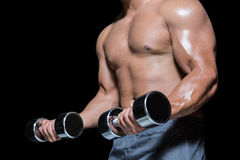 Mid section of a bodybuilder with dumbbells Royalty Free Stock Photos