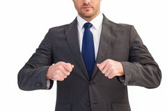 Mid section of a businessman with clenched fist Royalty Free Stock Photo