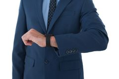 Mid section of businessman wearing wrist watch Royalty Free Stock Photos