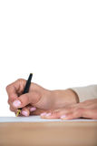 Mid section of businesswoman filling mortgage contract form Royalty Free Stock Image