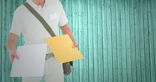 Mid section of delivery man holding courier Stock Photography