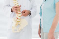 Mid section of a doctor explaining the spine to patient Royalty Free Stock Image