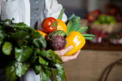Mid section female costumer holding fresh vegetables and fruits in organic section Stock Image